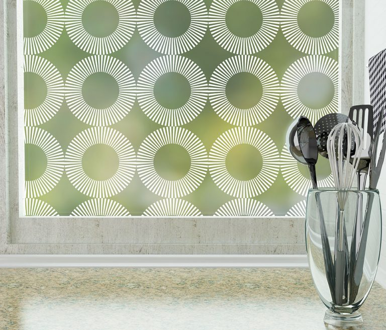 Radial Round Patterned Frosted Privacy Window Film by odhams press window films