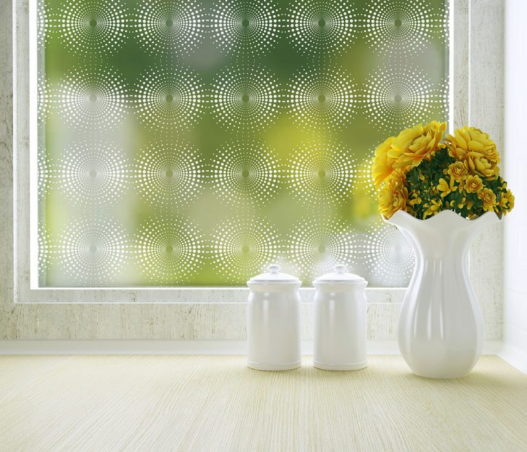 radiant geometric pattern privacy window film