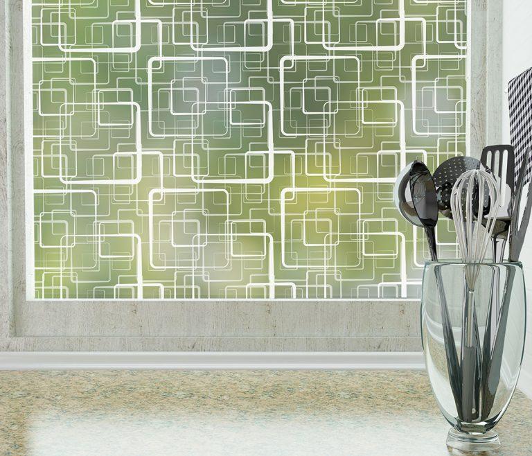 Retro Squares Adhesive Decorative & Privacy Window Film by odhams press